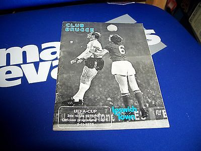 Club Brugge  V Ipswich Town Uefa Cup Programme 5/11/1975