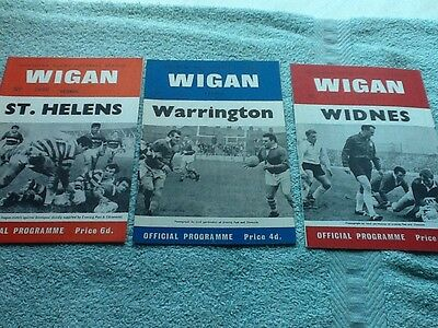3 Wigan rugby league programmes