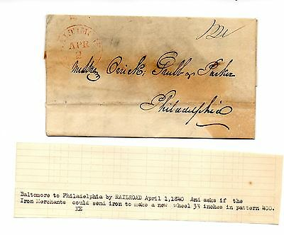 ** USA POSTAL HISTORY, PRE PHILATELIC LETTER 1840, from BALTIMORE to PHILA.