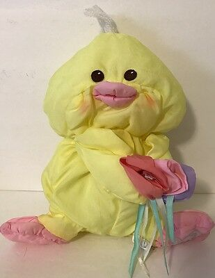 1988 Fisher Price Puffalump Easter Chick 8027 Yellow Flowers Plush 8""