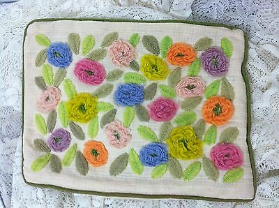 """Vintage Pillow COVER 10x14"""" Embroidered Floral Rectangular"""