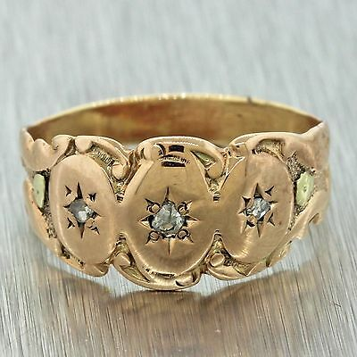 1880s Antique Victorian Estate 10k Solid Rose Gold Diamond Engraved Band Ring