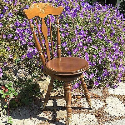 Vintage Wooden Piano Stool with Swivel Seat, Back Rest, Glass Ball & Claw Feet