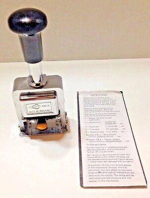 W T Rogers Automatic Numbering Machine No. 04213 with Box