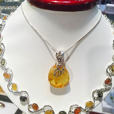 100% Genuine Vintage Russian Baltic Amber Butterscotch Egg Yolk Necklace Silver