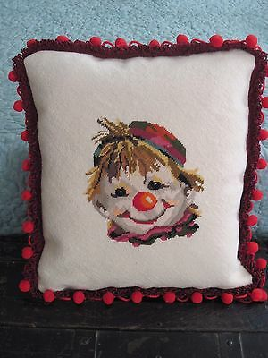 Finished Needlepoint Happy Clown  Deco Pillow Purple & Red On Wool Newly Made
