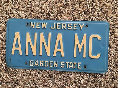 White On Blue New Jersey Vanity Personalized License Plate ANNA MC
