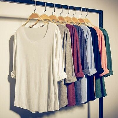 Mens Casual Plain Scoop Neck Long Sleeve Stretchy Cotton T-Shirt Tee Top Coat