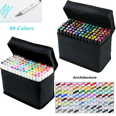 80Color Graphic Sketch Twin Tip Marker Pen Art Broad Fine Point For Architecture