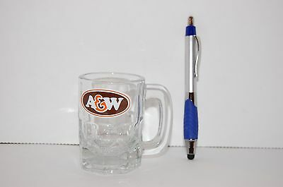 Vintage mini shot glass from A&W with handle and thick glass construction
