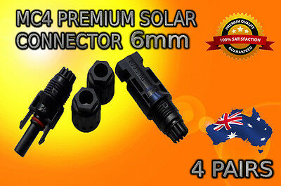 4 x Pairs MC4 Solar Panel Connectors 6mm Male Female Set TUV IP67 30A  PV Solar*