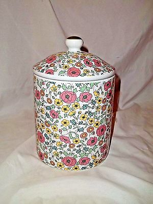 """Liberty Of London For Target Canister 8"""" Floral Botanical Medium Pink Green"""