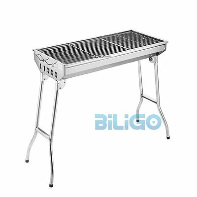 Outdoor Household Camping Portable Folding Charcoal BBQ Grill Stainless Steel