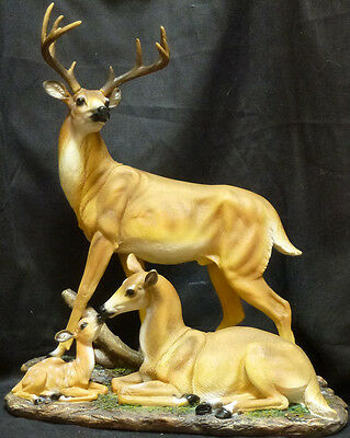 """Peace"" Deer Family Statue 10 point Buck wth Mother Deer & Baby Deer ~ Awesome"