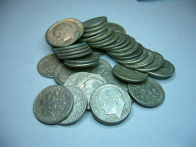 90% Silver Roosevelt Dimes - Roll of 50 - $5 Face Value Dates