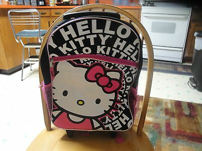 """Sanrio Hello Kitty 16"""" Large Size School Rolling Backpack Roller  Black & Pink"""