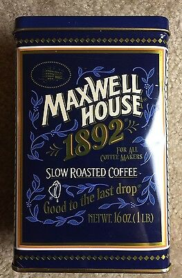 Vintage Maxwell House Tin 100 Year Anniversary 1892 Slow Roasted Coffee 16 oz.