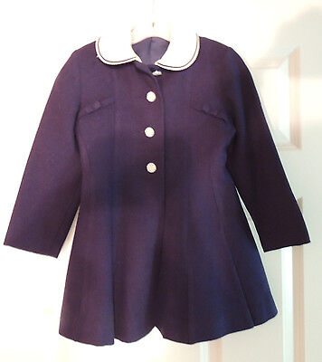 Vintage YQG Quality Child's Coat Navy Wool Lined & White Linen Collar Size 5