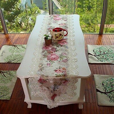 New Table Runner Floral Lace Cloth Bed Runner Wedding Party Hotel Venue Decor