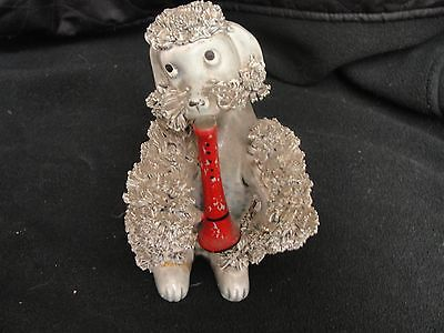 Vintage  Spaghetti Poodle  Dog Figurine with red Flute Made in Japan