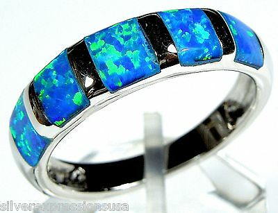 Blue Fire Opal Inlay Solid 925 Sterling Silver Band Ring size 6, 7, 8, 9