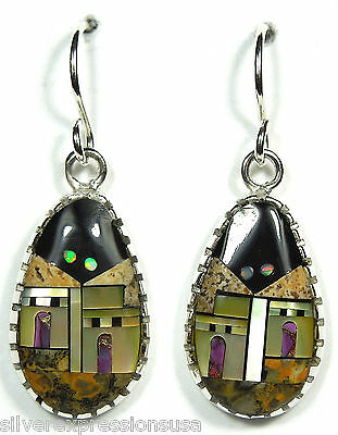 925 Sterling Silver Multicolor Inlay Southwestern Pueblo Scene Dangle Earrings