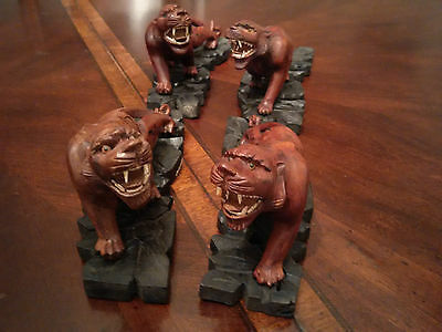 Tigers 4 of Them Rosewood Hand-Carved Great Detailing Teeth Eyes