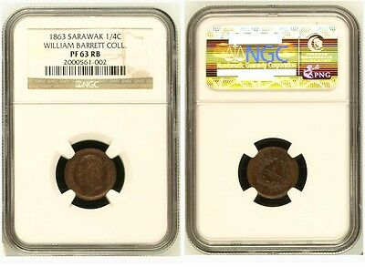 1863 Sarawak 1/4 cent Proof. Asset to any collection. NGC PF 63 RB