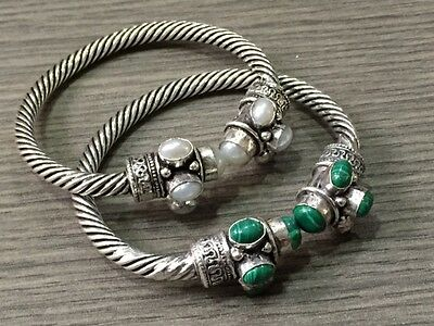 925 Starling Silver Plated Pearl & Malachite Stone Beautiful Bangle / Cuff