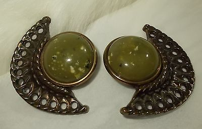 Vintage LARGE STATEMENT Earrings Egyptian Revival Clip On