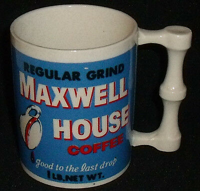 """Maxwell House Coffee Mug Cup 3.65"""" Good To The Last Drop Advertising Vtg"""