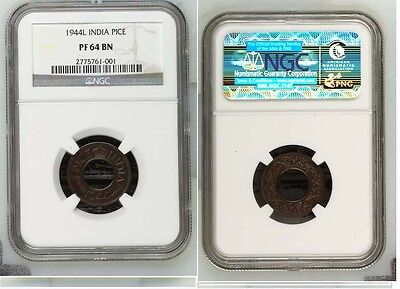 1944 L British India Proof Pice NGC PF 64 BN