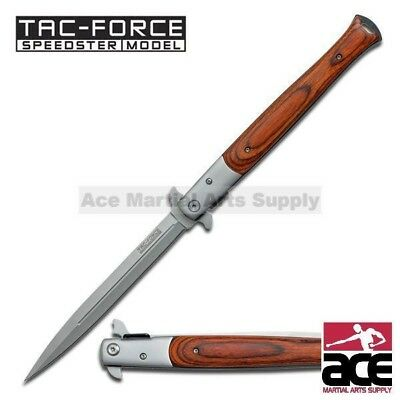 "12.5"" TAC FORCE SPRING ASSISTED TACTICAL STILETTO FOLDING POCKET KNIFE Blade Red"