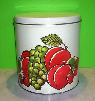 Vintage Mid-Century Decoware Metal Tin Canister W/Fruit & Foliage Motif on Front