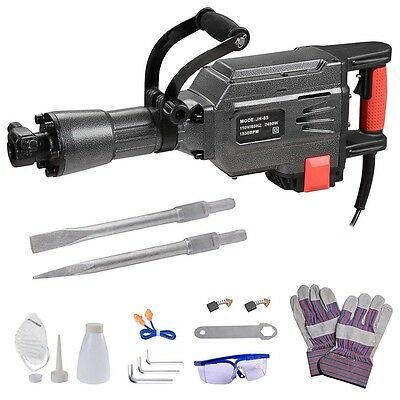 2400W Double Insulated Demolition Jack Hammer Electric Concrete Breaker 2 Chisel