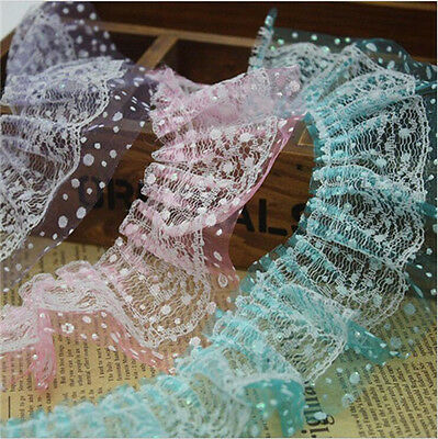 5M Lace Edge Trim Gathered Pleated Mesh Tulle Bridal Dressmaking Sewing Craft