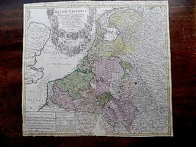 1747 Genuine Antique Map Belgii Universi Netherlands Belgium Homann Heirs Majer?