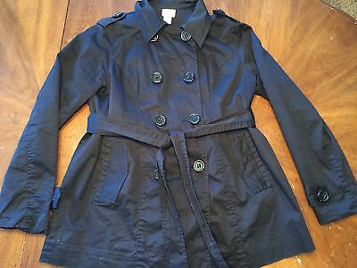 Motherhood Maternity Size S Black Trenchcoat, Fits Medium