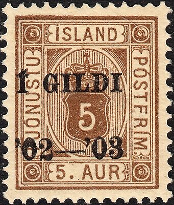 Iceland 1902 5a Official Overprinted MH