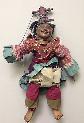 Asian Burmese Puppet Marionette Handmade Carved Wood Hand Painted