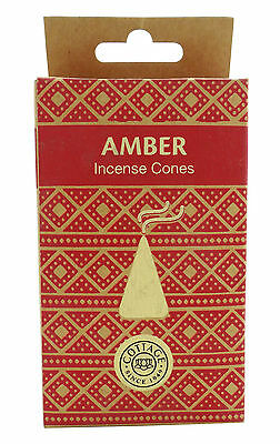 Cottage Amber Incense Dhoop Cones - 15 Cones & Stand