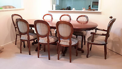 ANTIQUE  PROVINCIAL style 9 PCE DINING SUITE extendable table & 8 balloon chairs