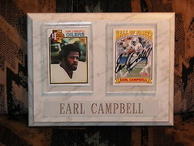 Earl Campbell Rookie card & signed on a white marble display plaque Heisman HOF