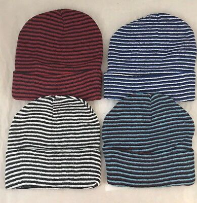 48  Assorted Color Striped Beanie Hats Winter Knit Hat Toboggan