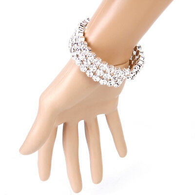 3-Row Clear Diamante Crystal Rhinestone Open Cuff Bracelet Bangle Wedding Bridal
