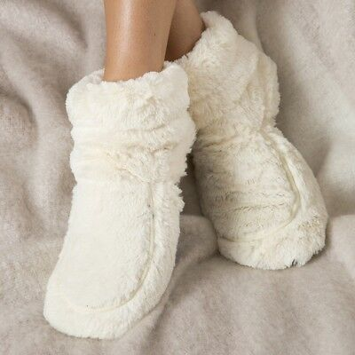 Cozy Plush Slippers Boots Microwaveable Warm Fluffy Lavender Scented UK Size 3-7