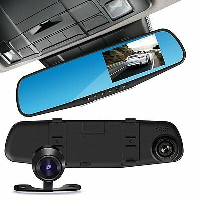 """4.3"""" LCD HD Dash DVR Recorder Dual Lens Front & Rearview Mirror Camera Monitor"""