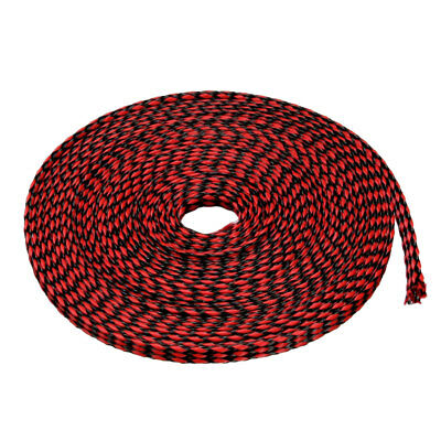 4mm PET Cable Wire Wrap Expandable Braided Sleeving Black Red 5M Length