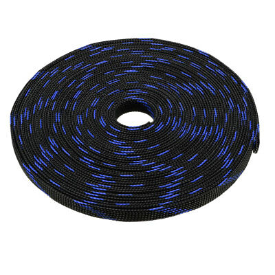 12mm PET Cable Wire Wrap Expandable Braided Sleeving Black Blue 5M Length