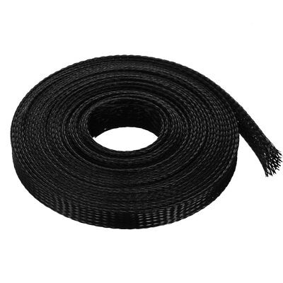 10mm PET Cable Wire Wrap Expandable Braided Sleeving Black 5M Length